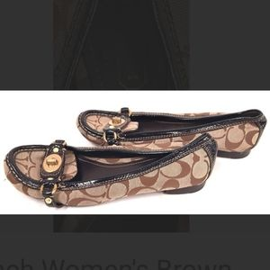 Coach women brown slip on shoes